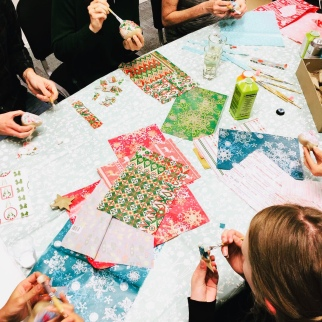 Christmas bauble decorating for a corporate craft social